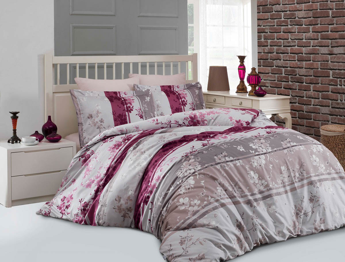 Купить Комплекты постельного белья Altinbasak, Постельное белье Catelin Цвет: Розовый (2 сп. евро), Турция, Хлопковый сатин