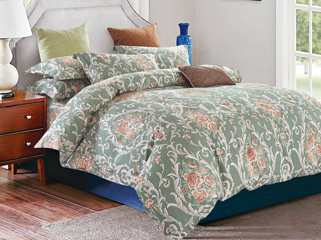 Купить Комплекты постельного белья Cleo, Постельное белье Rylee (2 спал.), Китай, Зеленый, Хлопковый сатин