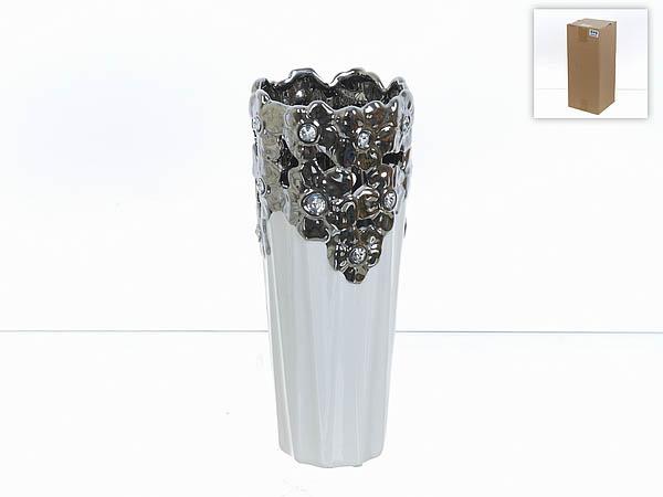 Купить Вазы ENS GROUP, Ваза Серебристое Кружево (13х13х32 см), Китай, Белый, Серый, Керамика
