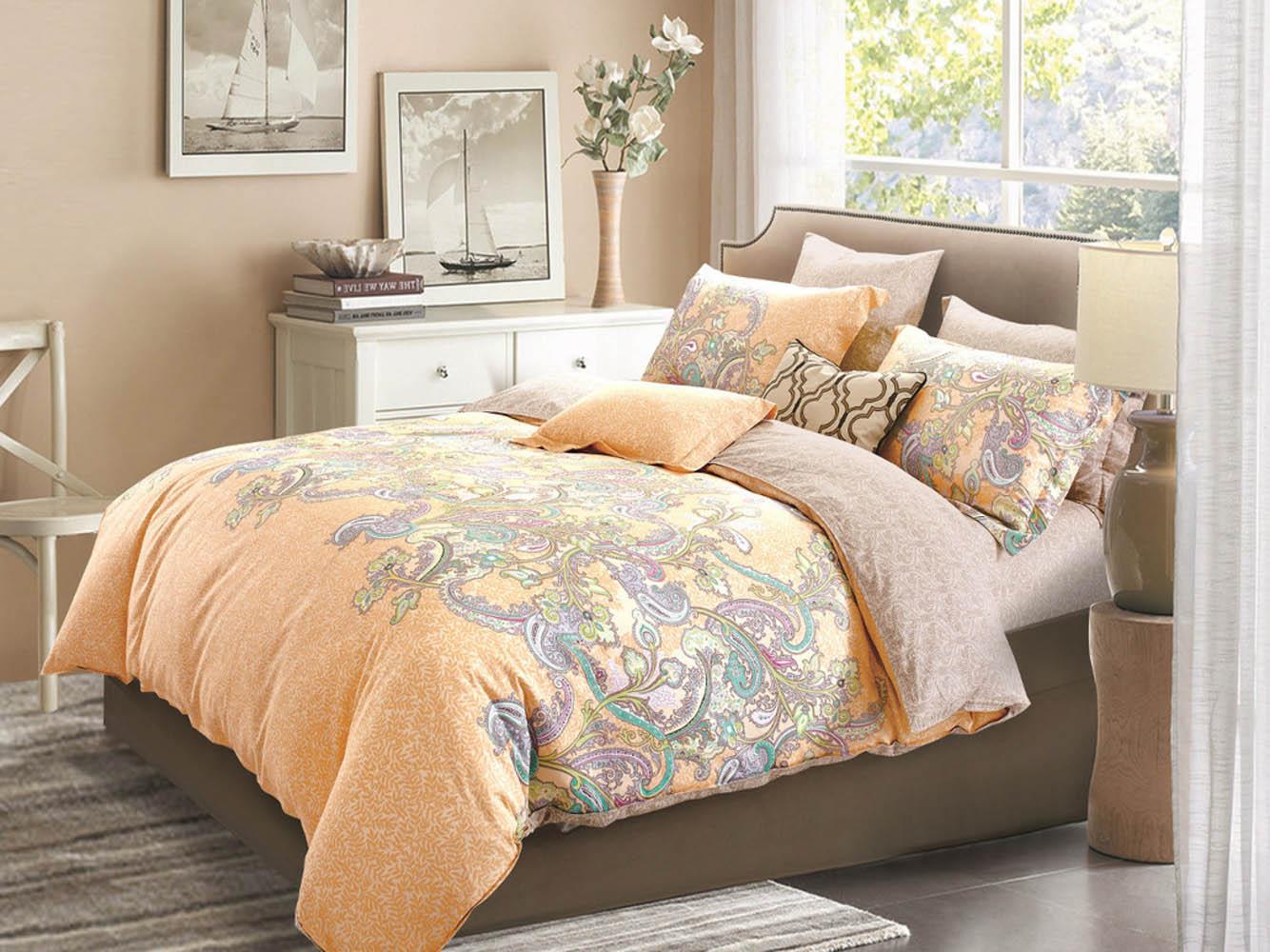 Купить Комплекты постельного белья Cleo, Постельное белье Nyasia (1, 5 спал.), Китай, Оранжевый, Хлопковый сатин