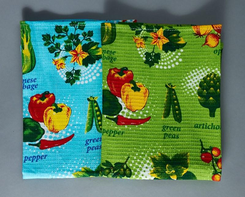 Купить Полотенца Любимый дом, Кухонное полотенце Marriage (50х70 см - 2 шт), Россия, Голубой, Зеленый, Вафля