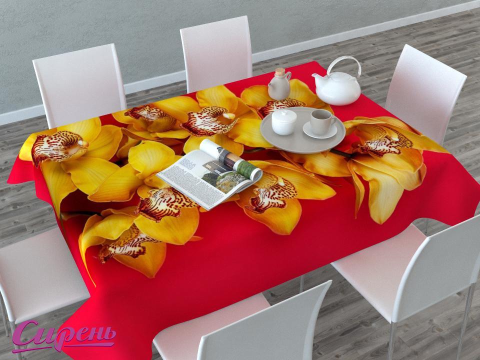 Скатерти и салфетки Сирень Скатерть Желтая Орхидея (145х220 см) скатерти и салфетки сирень скатерть желтая орхидея 120х145 см