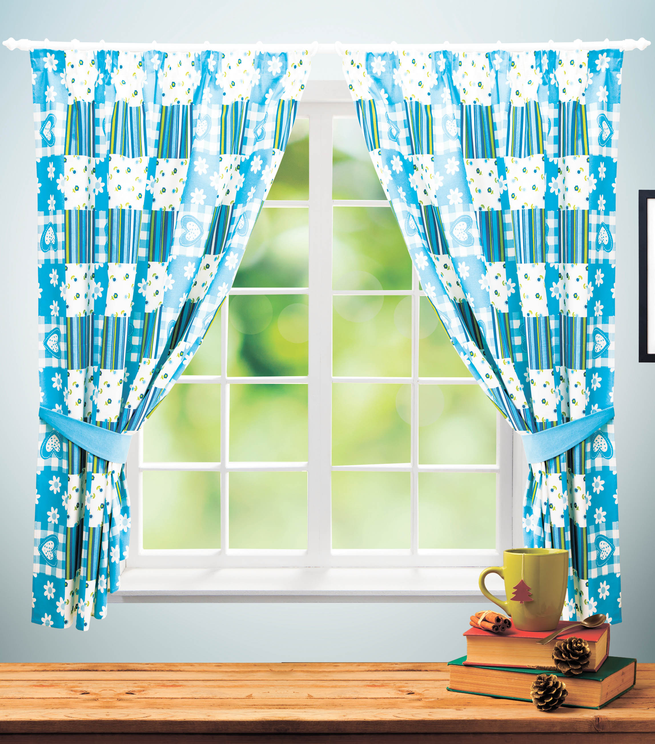 Купить Шторы PASIONARIA, Классические шторы Maryvonne Цвет: Голубой, Россия, Портьерная ткань