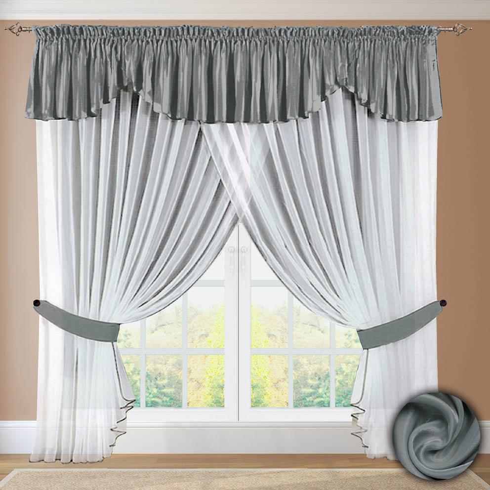Шторы РеалТекс Шторы с ламбрекеном Connell Цвет: Темно-Серый шторы реалтекс шторы с ламбрекеном радость цвет фиолетовый