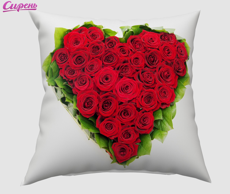 Декоративные подушки Сирень Декоративная подушка Букет - Сердце (40х40 см) подушки декоративные сирень декоративная подушка любовное письмо