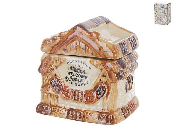 Купить Хранение продуктов ENS GROUP, Банка для сыпучих Дом, Милый Дом (8х9х10 см), Китай, Оранжевый, Керамика