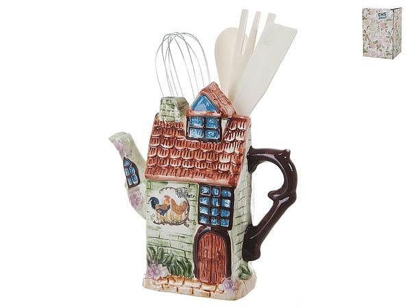 Купить Хранение продуктов ENS GROUP, Подставка для кухонных принадлежностей Птичий Двор (8х19х19 см), Китай, Зеленый, Коричневый, Керамика