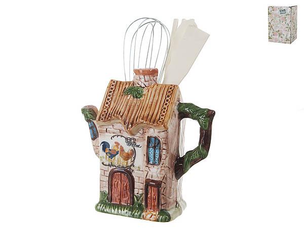 Купить Хранение продуктов ENS GROUP, Подставка для кухонных принадлежностей Птичий Двор (8х19х19 см), Китай, Бежевый, Зеленый, Керамика
