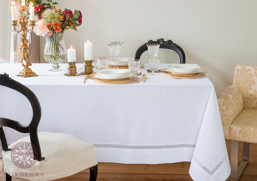 Купить Скатерти и салфетки BOVI, Скатерть Holiday Цвет: Белый (160х180 см), Португалия, Поликоттон