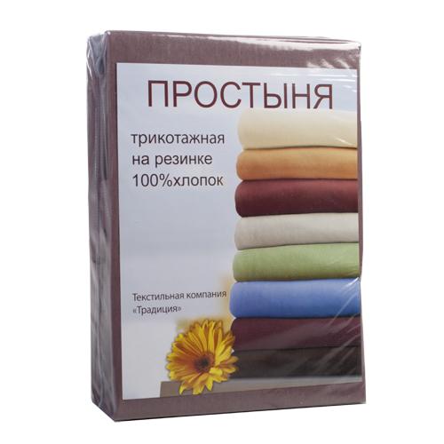Купить Простыни Традиция, Простыня на резинке Dayanara Цвет: Мокко (180х200), Россия, Хлопковый трикотаж