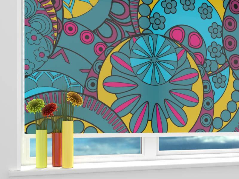 Римские и рулонные шторы StickButik Рулонные шторы Цветочные Круги