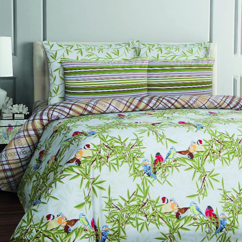 Купить Комплекты постельного белья Mona Liza, Постельное белье Winter Birds (1, 5 спал.), Россия, Зеленый, Бязь