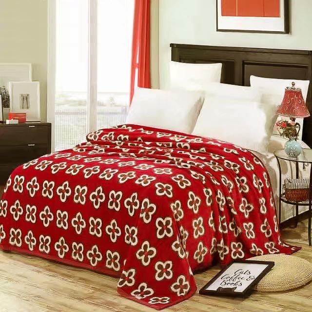 Купить Пледы и покрывала Tango, Плед Kodey (200х220 см), Китай, Бежевый, Красный, Синтетическая фланель
