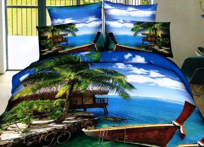 Купить Комплекты постельного белья Tango, Постельное белье Nidalee(2 спал.), Китай, Голубой, Зеленый, Хлопковый сатин