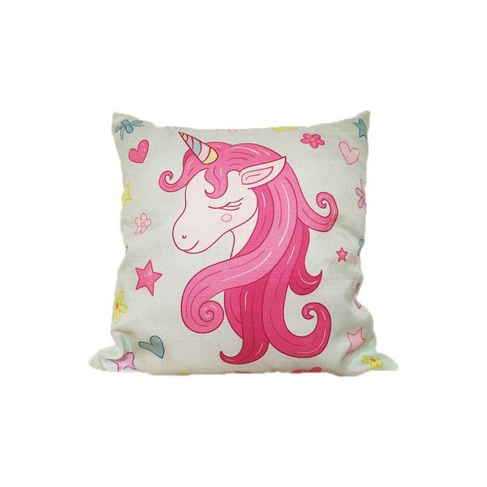 Купить Декоративные подушки Mioletto, Декоративная подушка Единорог (45х45), Китай, Розовый, Серый, Синтетический гобелен