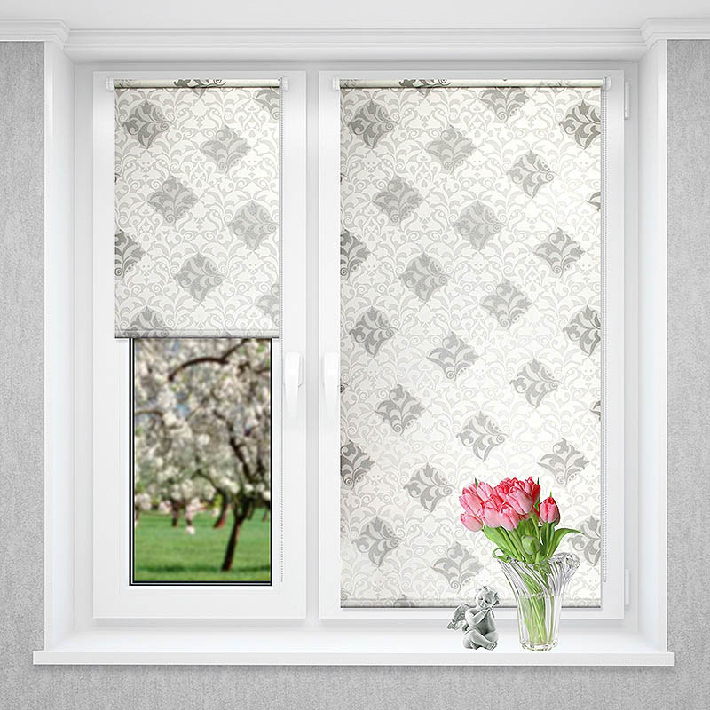 Рулонные шторы Sonora Цвет: Белый, Серебро (72х170)