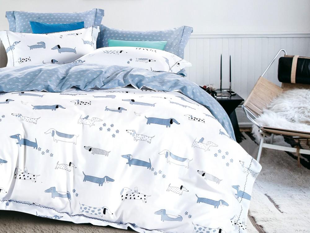Купить Детское постельное белье Asabella, Детское Постельное белье Такса (160х220 см), Китай, Белый, Голубой, Хлопковый сатин