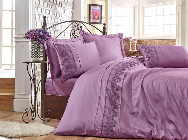 Купить Комплекты постельного белья DO'n'CO, Постельное белье Verda Цвет: Баклажан (2 сп. евро), Турция, Хлопковый сатин