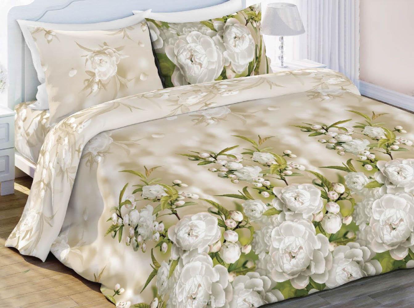 Комплекты постельного белья ТК Хлопковый Рай Постельное белье Белые Бутоны (семейное)