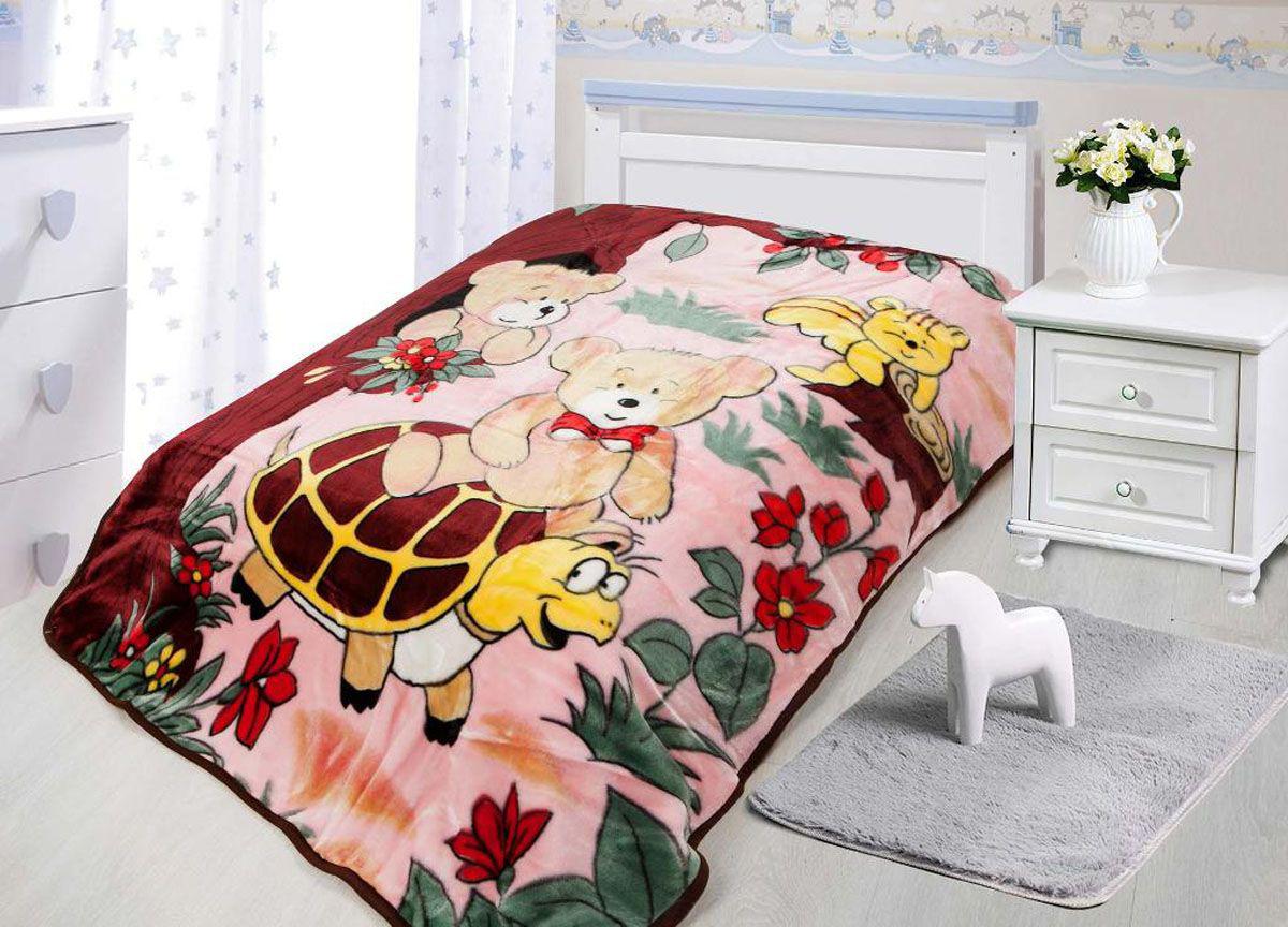 Купить Покрывала, подушки, одеяла для малышей Tamerlan, Детский плед Медведь На Черепахе (110х140 см), Китай, Бордовый, Розовый, Коралловый флис