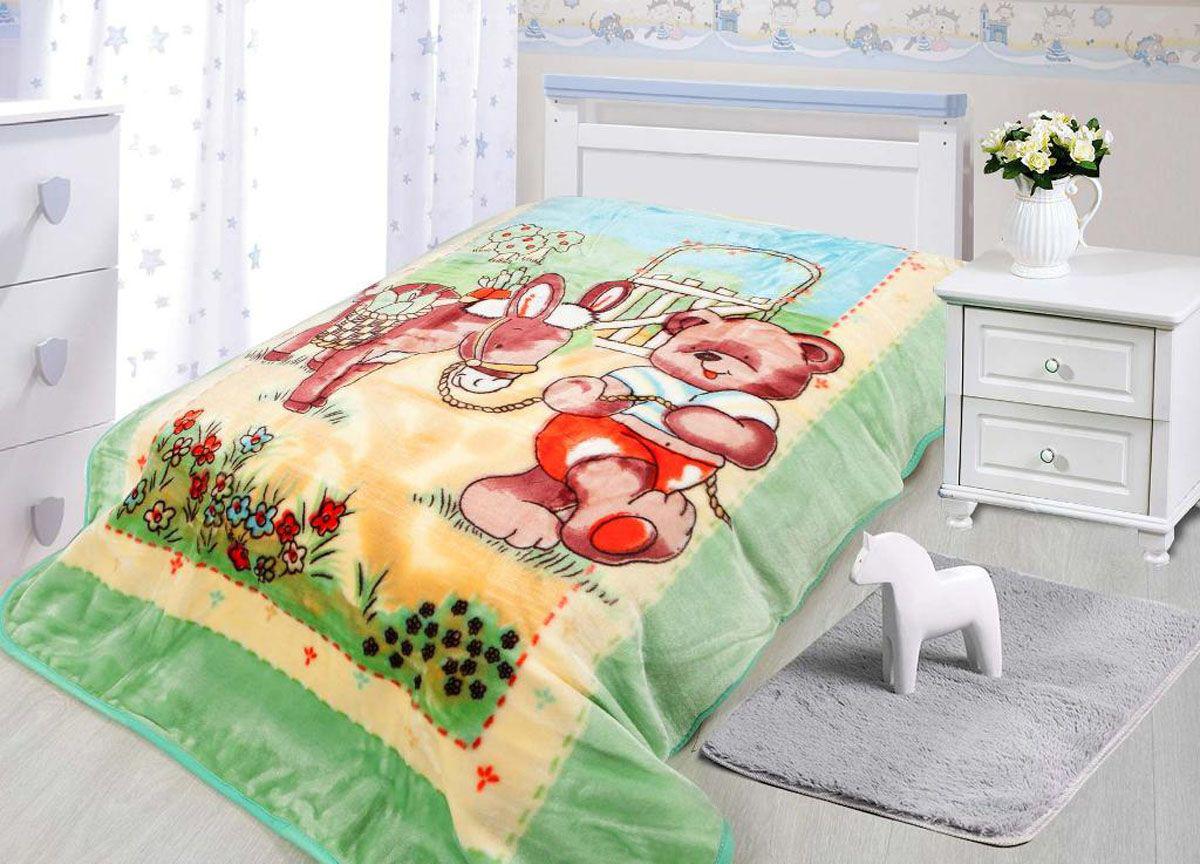 Купить Покрывала, подушки, одеяла для малышей Tamerlan, Детский плед Мишка и Ослик (110х140 см), Китай, Зеленый, Оранжевый, Коралловый флис