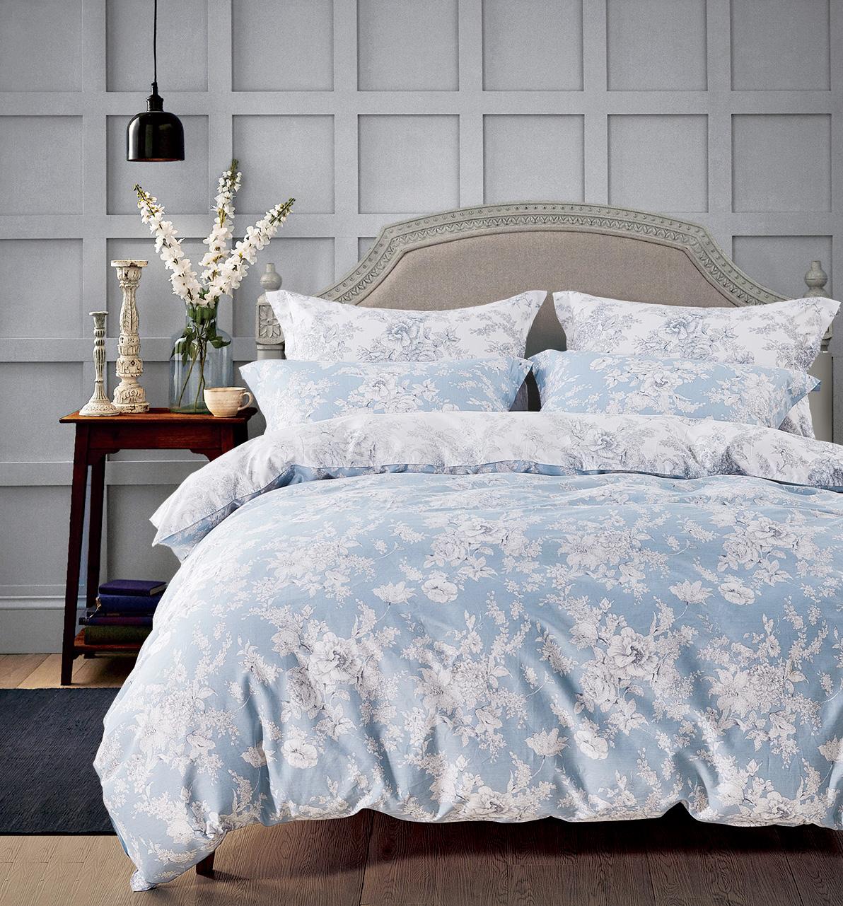 Купить Комплекты постельного белья Tango, Постельное белье Krista (2 спал.), Китай, Голубой, Хлопковый сатин