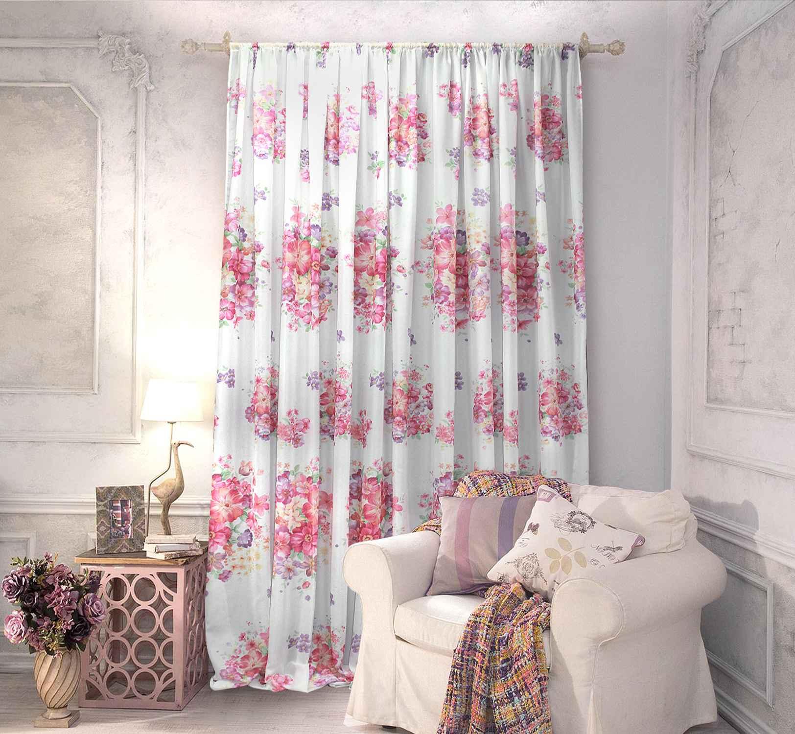 Купить Шторы Amore Mio, Классические шторы Silk Pech Цвет: Розовый, Россия, Вуаль