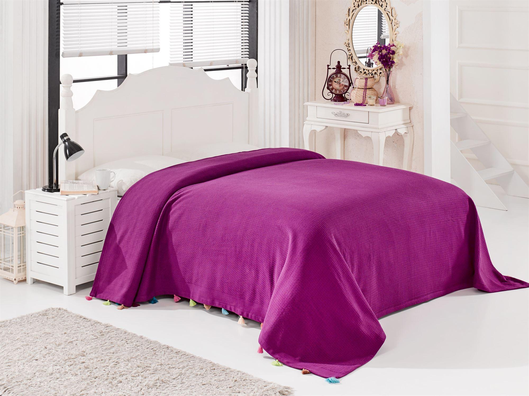 Купить Пледы и покрывала DO'n'CO, Покрывало Pop Цвет: Фиолетовый (230х240 см), Турция, Бордовый, Пике из хлопка