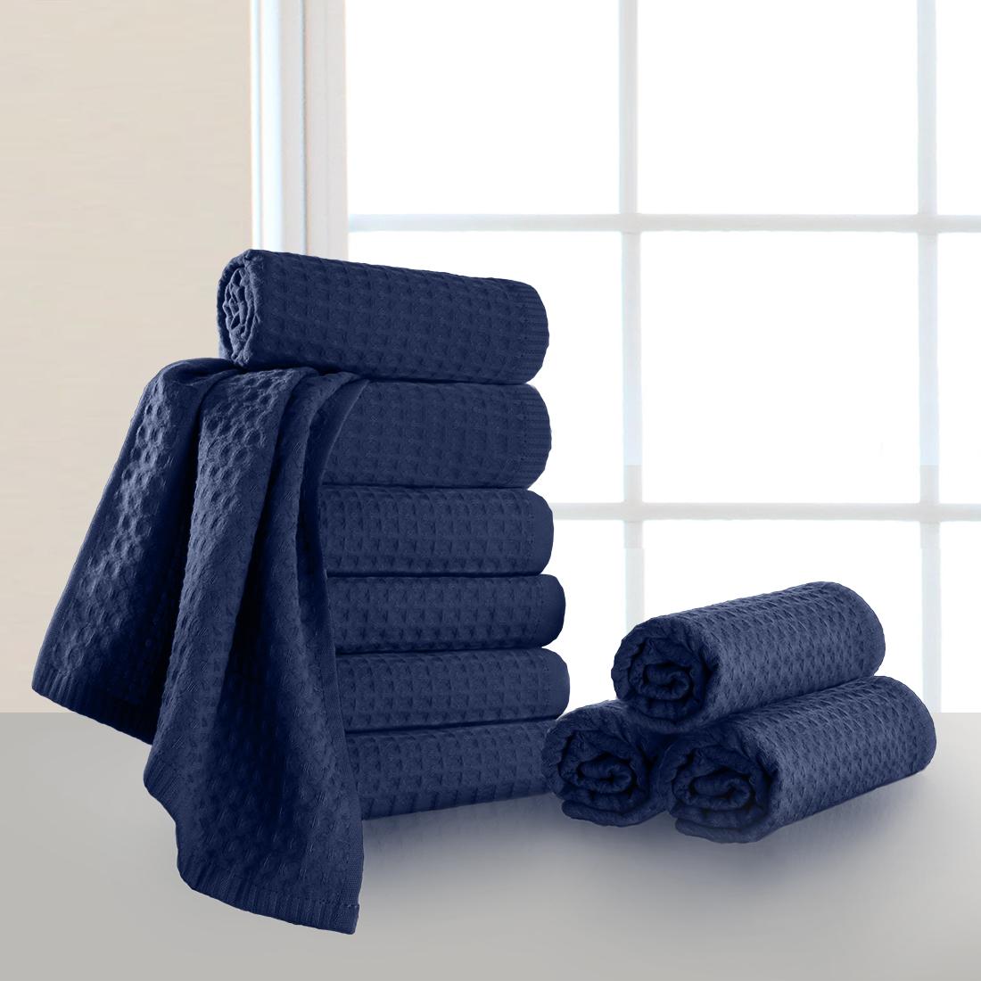 Купить Полотенца Dome, Полотенце для рук Ribbed Цвет: Темно-Синий (40х70 см - 10 шт), Дания, Пике