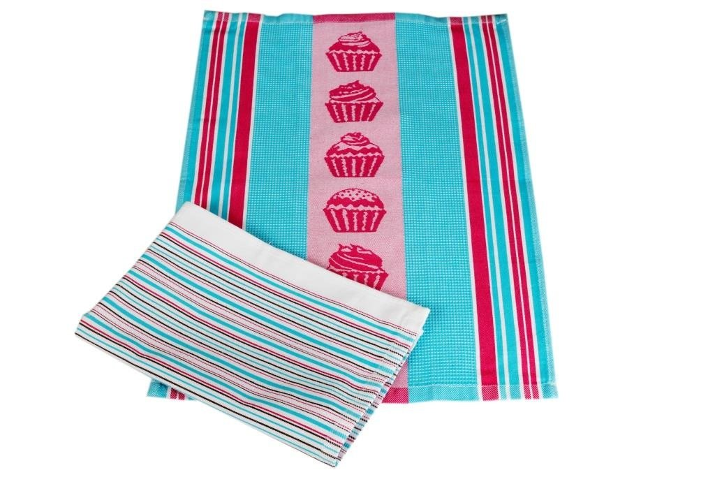 Полотенца Toalla Кухонное полотенце Cupcakes (40х60 см - 2 шт) bon appetit кухонное полотенце cake цвет голубой 40х60 см 2 шт