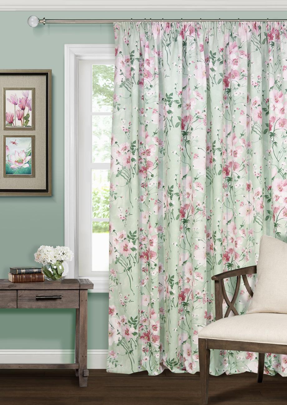 Купить Шторы Kauffort, Классические шторы Naturel Цвет: Зеленый, Россия, Зеленый, Розовый, Рогожка