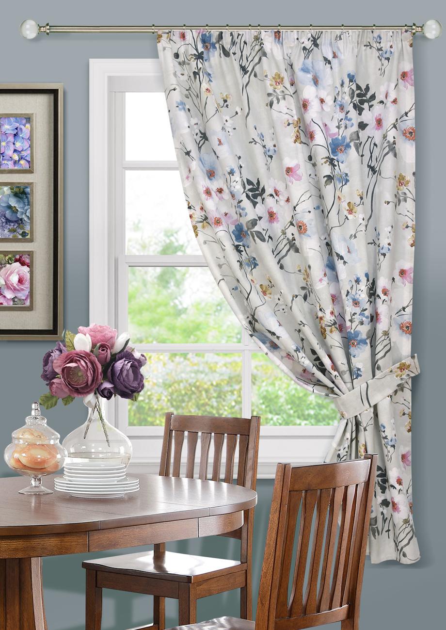 Купить Шторы Kauffort, Классические шторы Naturel - K Цвет: Серый, Россия, Голубой, Розовый, Серый, Рогожка
