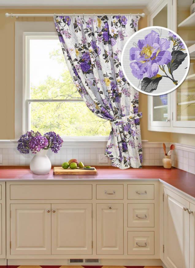 Купить Шторы Kauffort, Классические шторы Melodia Цвет: Фиолетовый, Россия, Серый, Сиреневый, Портьерная ткань