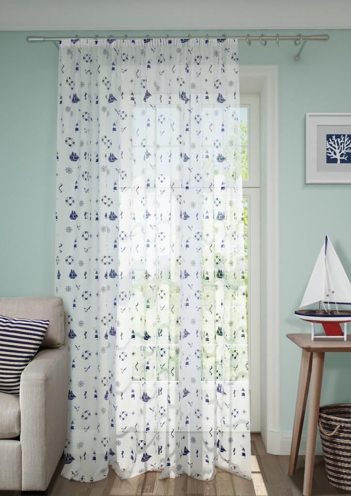 Шторы Kauffort Классические шторы Neptune - XL Цвет: Натуральный, Синий шторы kauffort классические шторы plumage xl цвет синий