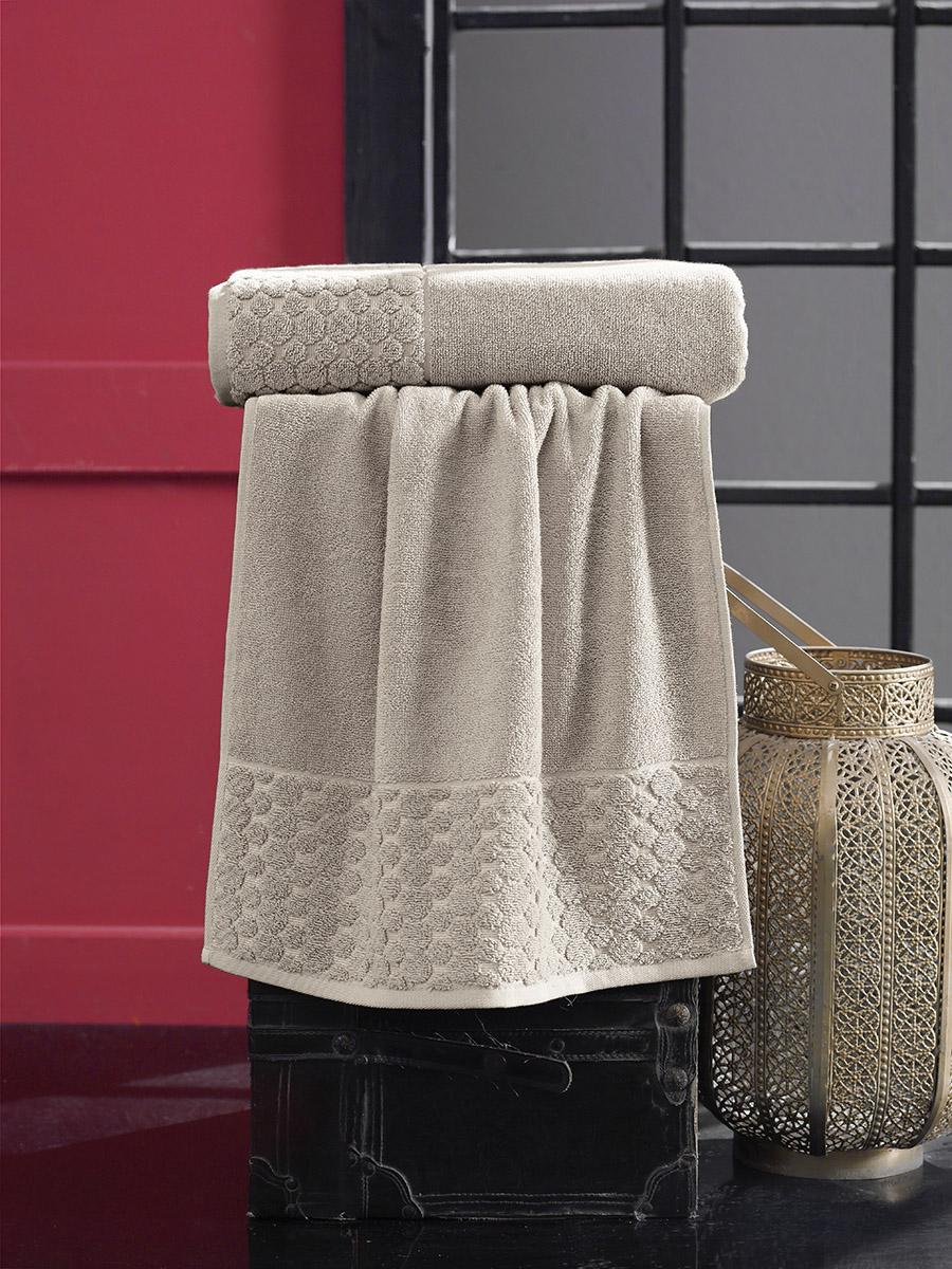 Купить Полотенца Karna, Полотенце Ponpon Цвет: Бежевый (70х140 см), Турция, Махра