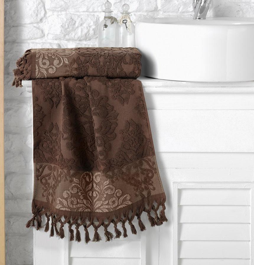 Купить Полотенца Karna, Полотенце Ottoman Цвет: Темно-Коричневый (70х140 см), Турция, Жаккард