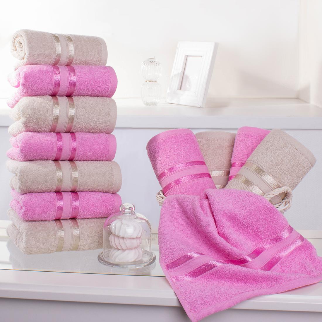 Купить Полотенца Dome, Полотенце для рук Harmonika Цвет: Розовая Вишня-Экрю (33х50 см - 12 шт), Дания, Махра