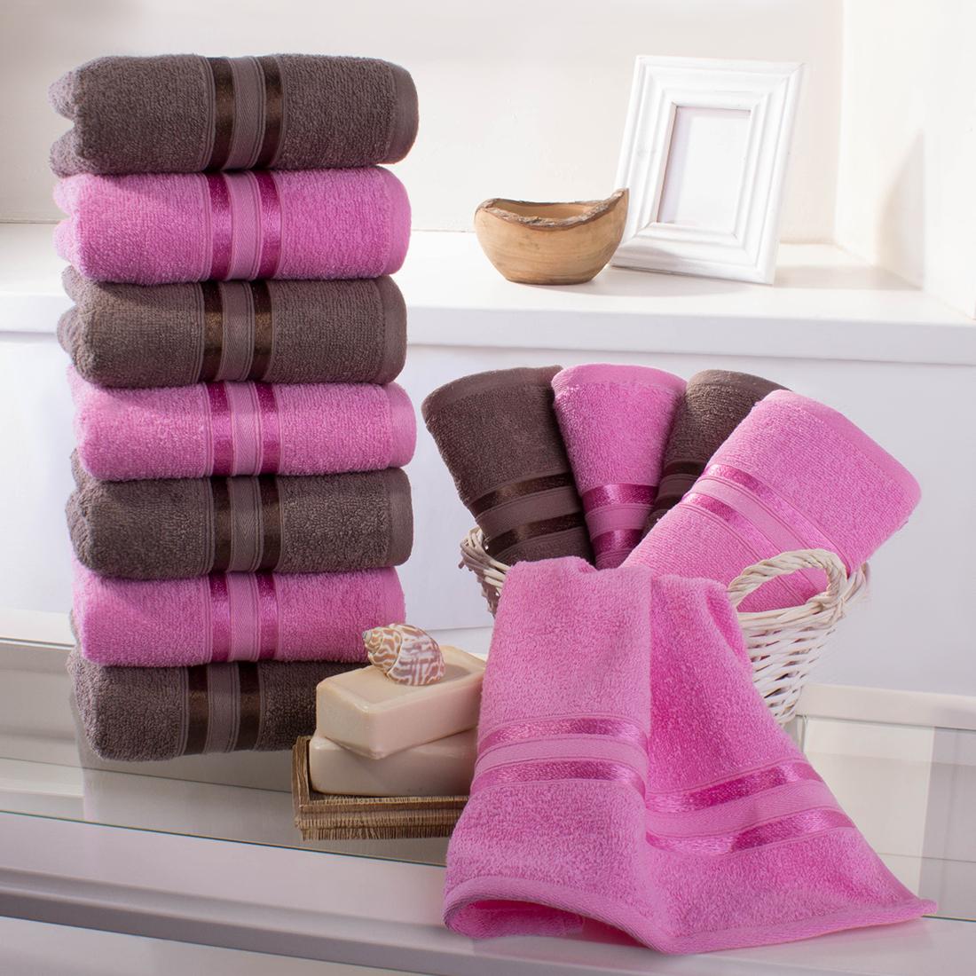 Полотенца Dome, Полотенце для рук Harmonika Цвет: Коричневый-Розовая Вишня (33х50 см - 12 шт), Дания, Махра  - Купить