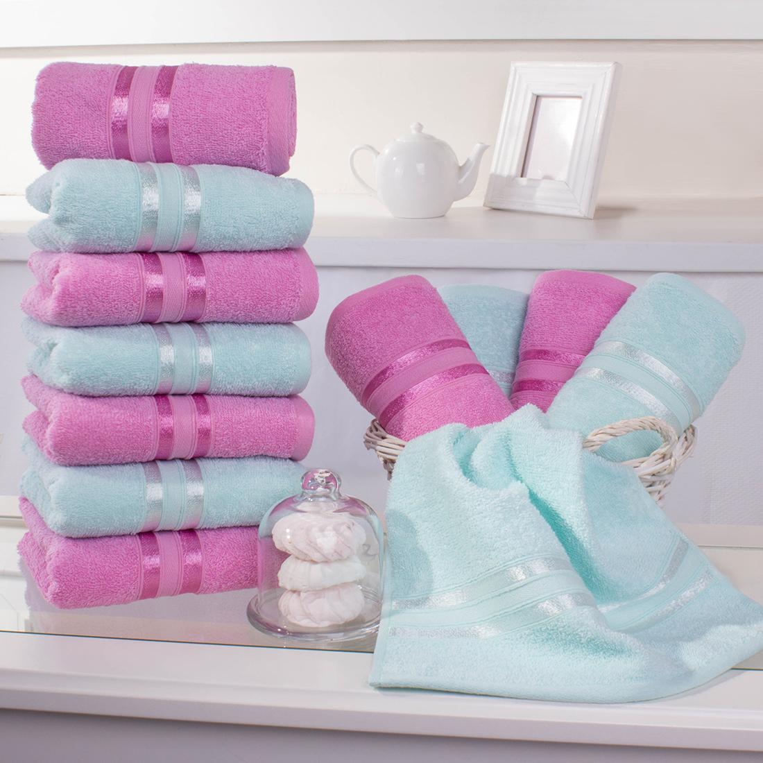 Купить Полотенца Dome, Полотенце для рук Harmonika Цвет: Розовая Вишня-Ментоловый (33х50 см - 12 шт), Дания, Махра