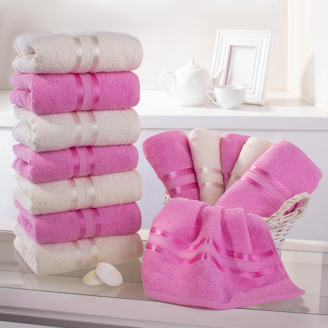 Полотенца Dome, Полотенце для рук Harmonika Цвет: Розовая Вишня-Молочный (33х50 см - 12 шт), Дания, Махра  - Купить