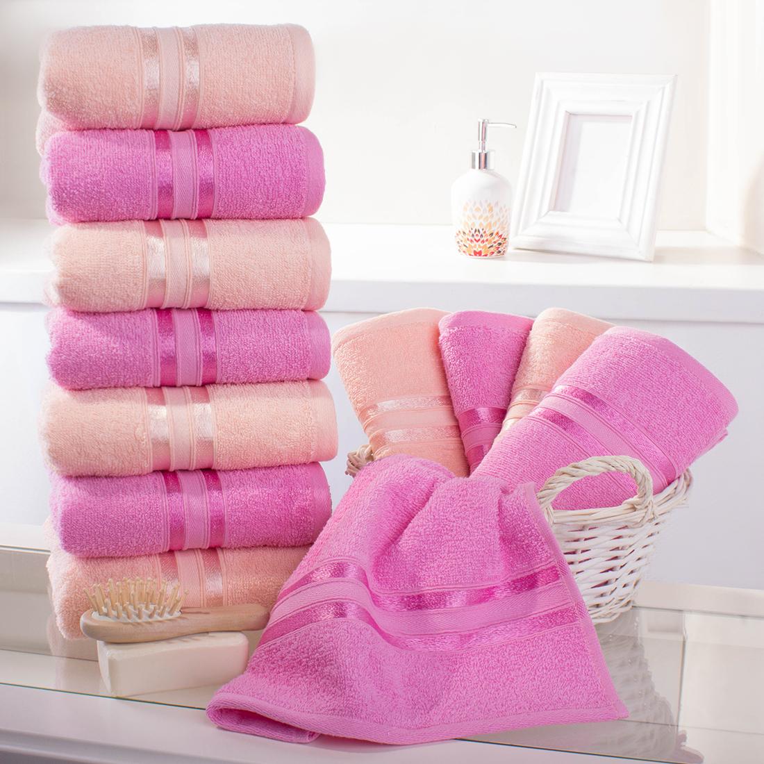 Купить Полотенца Dome, Полотенце для рук Harmonika Цвет: Розовая Вишня-Персиковый (33х50 см - 12 шт), Дания, Махра