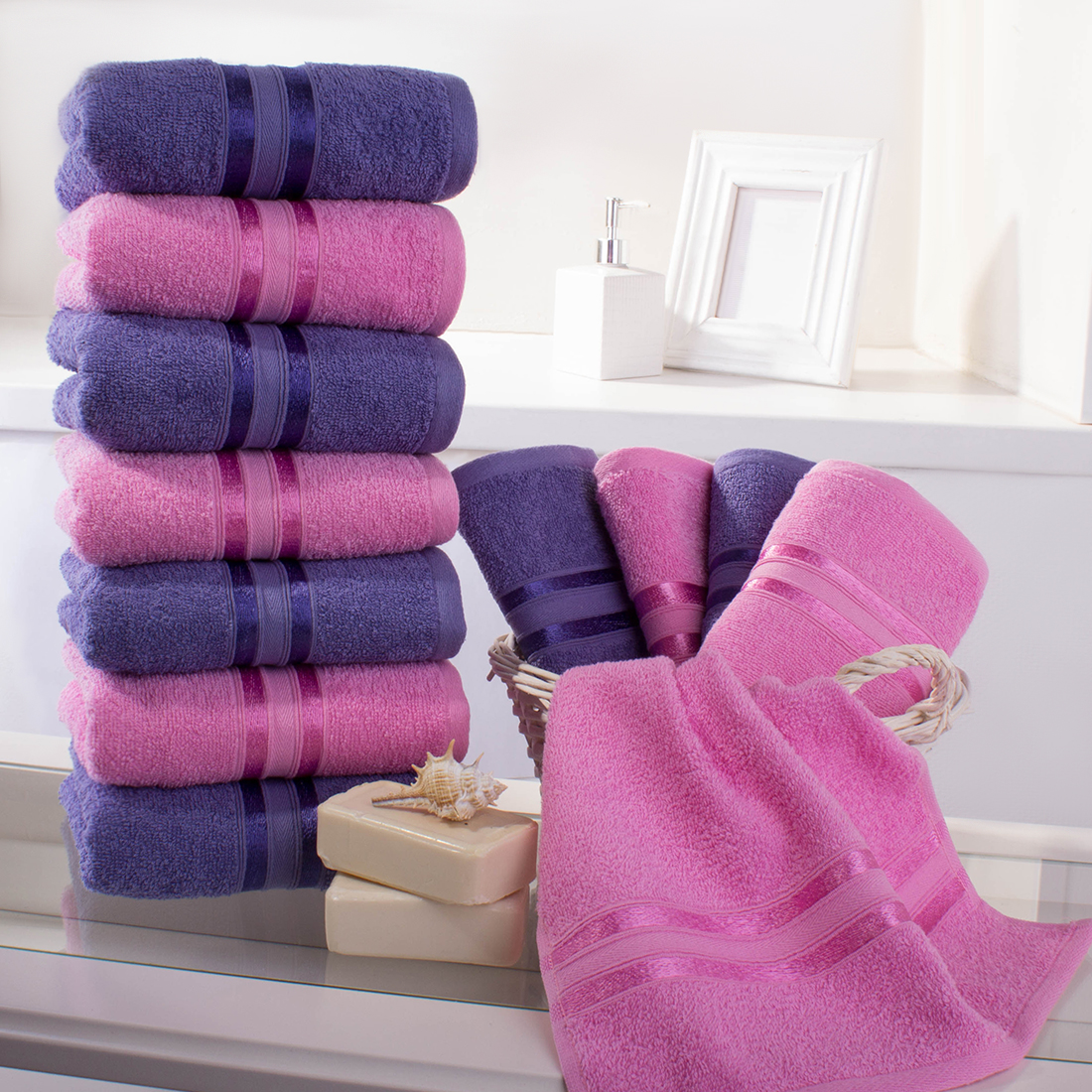 Полотенца Dome, Полотенце для рук Harmonika Цвет: Розовая Вишня-Сиреневый (33х50 см - 12 шт), Дания, Махра  - Купить