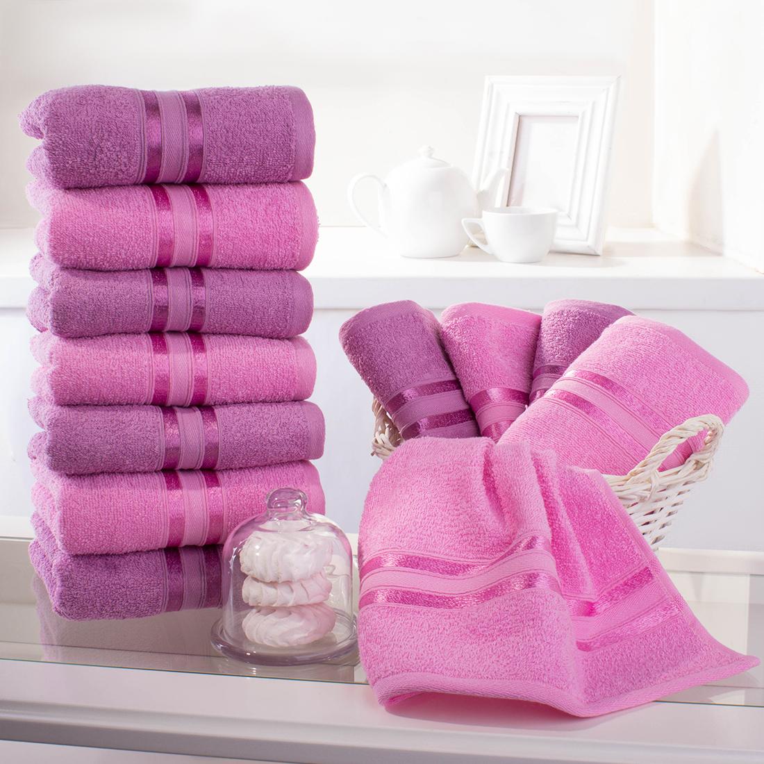 Купить Полотенца Dome, Полотенце для рук Harmonika Цвет: Лиловый-Розовая Вишня (33х50 см - 12 шт), Дания, Махра