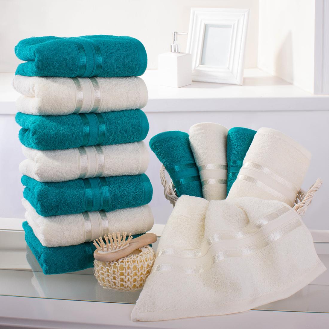 Купить Полотенца Dome, Полотенце для рук Harmonika Цвет: Молочный-Морская волна (33х50 см - 12 шт), Дания, Махра