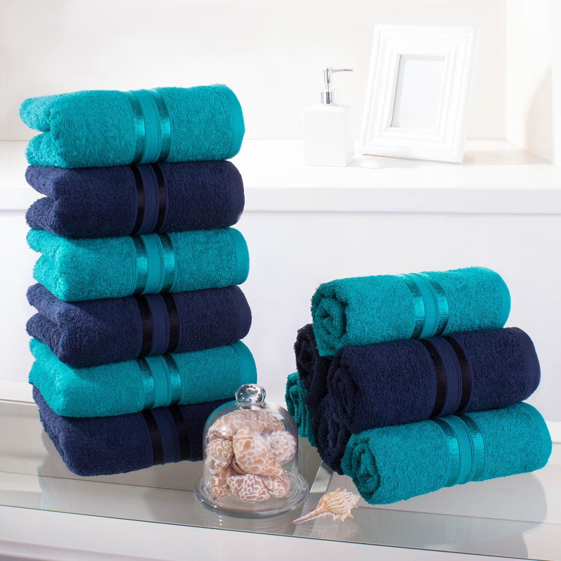 Купить Полотенца Dome, Полотенце для рук Harmonika Цвет: Морская волна, Темно-Синий (33х50 см - 12 шт), Дания, Махра