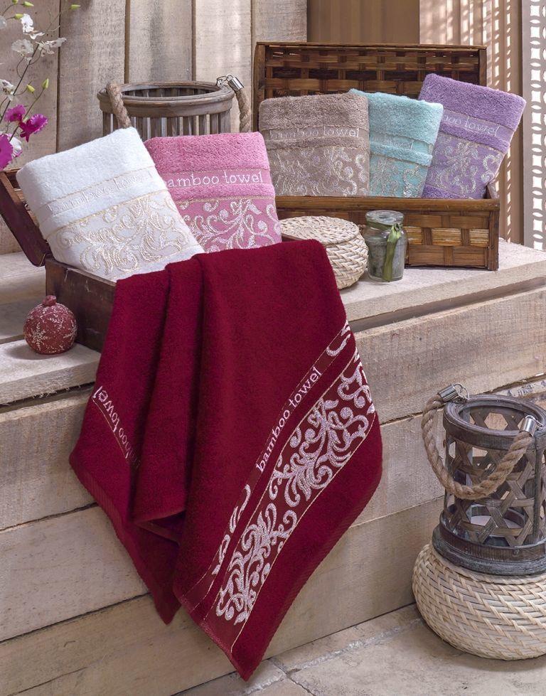 Купить Полотенца Brielle, Полотенце Jacquard Цвет: Кремовый (70х140 см), Турция, Бамбук