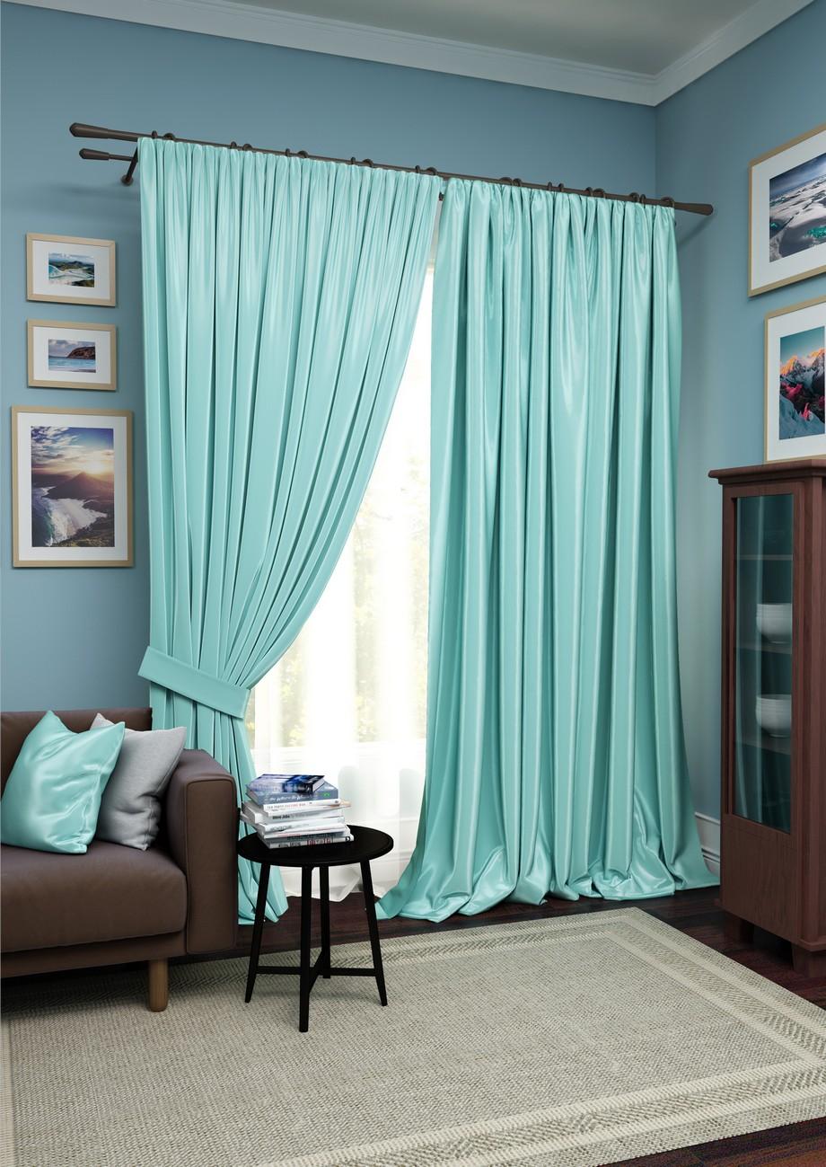 Купить Шторы Kauffort, Классические шторы Avery Цвет: Голубой, Белый, Россия, Вуаль, Сатен