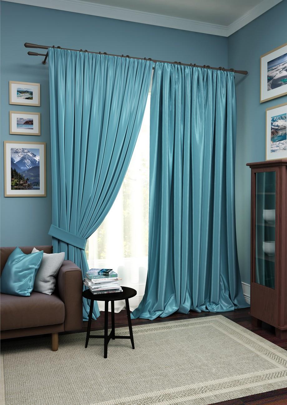 Купить Шторы Kauffort, Классические шторы Avery Цвет: Синий, Белый, Россия, Голубой, Вуаль, Сатен