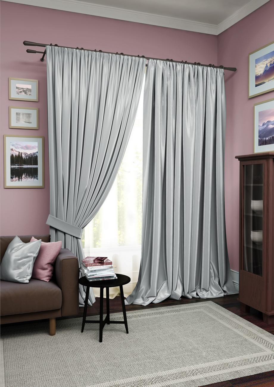 Купить Шторы Kauffort, Классические шторы Avery Цвет: Серый, Белый, Россия, Вуаль, Сатен