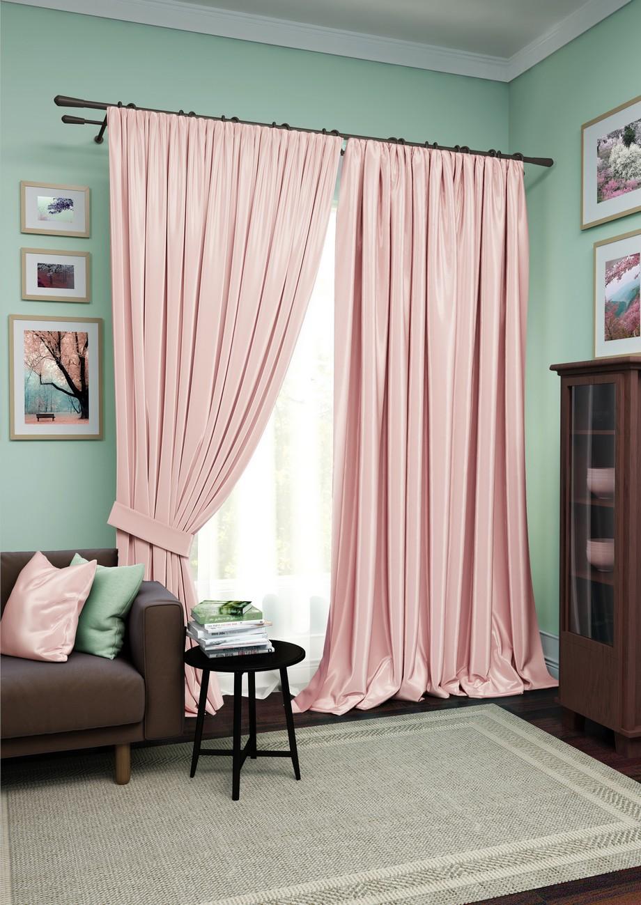 Купить Шторы Kauffort, Классические шторы Avery Цвет: Розовый, Белый, Россия, Вуаль, Сатен